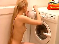 Tall Beautiful Blonde Kira Helps With The Laundry