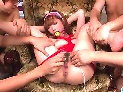 Töötlemata Aasia pärisorjus mööda seksikas Sana Anzyu