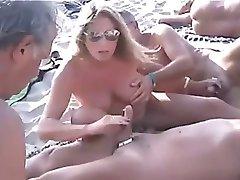 Nudistična Plaža - Javna Handjobs z Preboden Bradavičke