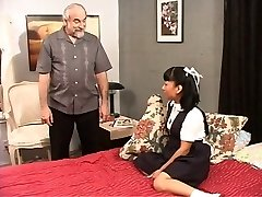 Brown-haired school girl plays with her pussy for her sir.