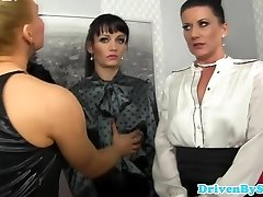 European female domination platinum-blonde soaking five brunettes