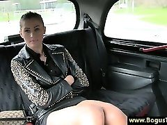 Horny taxi honey amateur finger-banged by cabbie