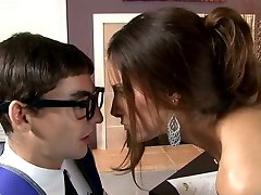 Busty raven haired bombshell blows smelly cock of her young teacher avidly