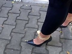 Walking with stilettos total of cum