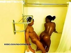 Ebony girl with ginormous orbs and ass getting fucked in shower - spy video