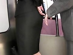 groping tight skirt caress in train