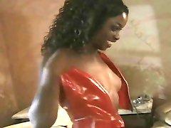 Ebony Secretaris Kreeg een Handjob Keuze