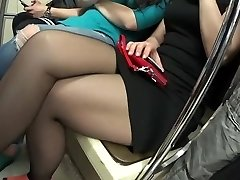 Bauty legs of girl in black stockings