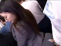 Japanese slut fucked clothed in the bus