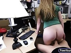 Amateur blonde babe gets her pussy pounded by nasty pawn guy