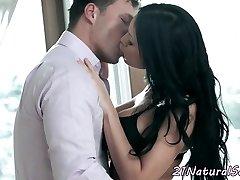 European lingerie model having romantic sex