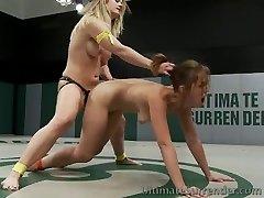 Hot girl on girl strap on fucking wrestling