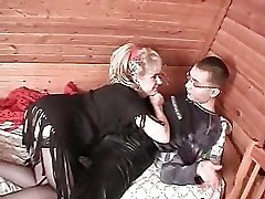Mature lady and young boy