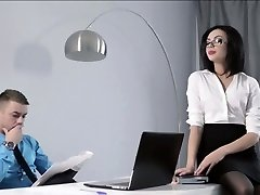 Puny Secretary fucked at the office