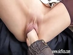 Blond milf fist smashed in a public park