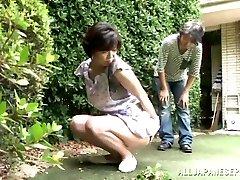 Japanese AV Model is a horny maid loving a hard humping
