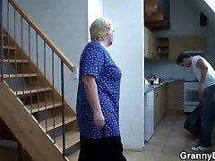 He helps blonde grandmother
