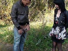 Love Jam addicted brunette participates in a MMF threesome