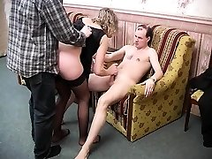 Double penetration hardcore three-way with blonde