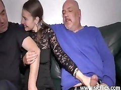 Teen double fisted and plowed by two brutes
