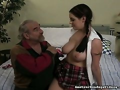 Sexy school gal with juicy globes gets spanked hard