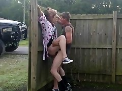 Hot wifey fucked out in front yard in broad daylight