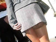real damsels,  real life pantyhose in the street
