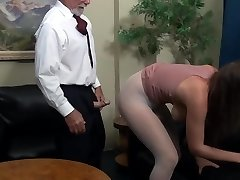 The domineering, older bosses coddles a young intern ...