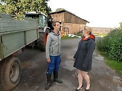 Village chubby blonde is porked by young farmer and fed with his seed