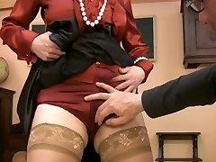 Hot lady teacher with raw panties jerks very sexy