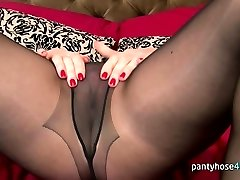 Horny chick in tights is masturbating