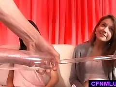 Girls measure dick in penis pump during CFNM demonstrate
