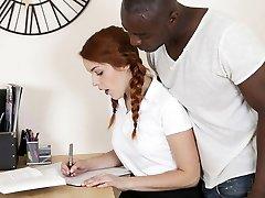 Skinny redhead schoolgirl impaled by BBC