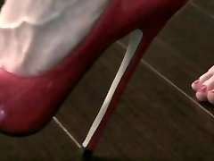 pink heels on a tabouret