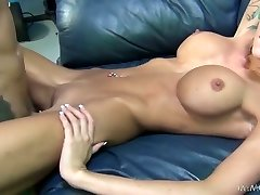 Skinny inked girl with fake udders Rikki Six gets rode missionary style