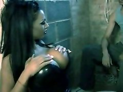 brunette with black latex minidress get torn up