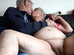 Fat older granny kissing