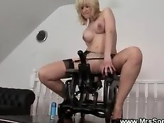 Horny mature rides on sex chair