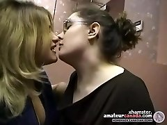 Two chubby first-timer lesbians make out and kissing in office
