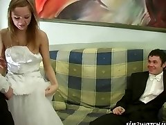 Sexy Bride gets smashed by two groomsmen