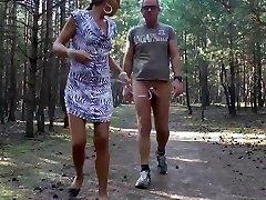 E-Stim outdoor ,Public showing in wood, jerking off