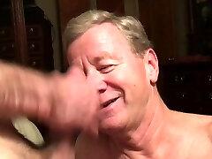 Old Faggot Cocksucker Gets Cum Facial and Eats Spunk