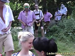 german lederhosen gangbang in nature