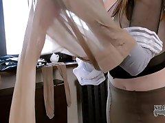 Fancy pantyhose encasement for lovely Mia