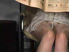 Pantyhose upskirt no panties