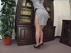 asian secretary pantyhose