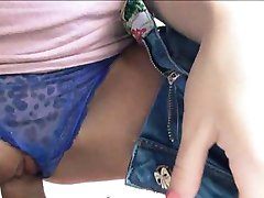 Slim amateur brunette teen Belle Claire banged in the car