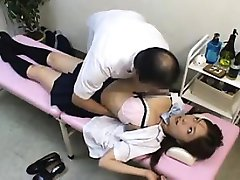Doctor gives a schoolgirl some pussy action on her back and