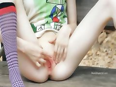Ultra bony girl fingering on a bench