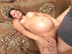 Shaved pregnant bitch fucking for her luck